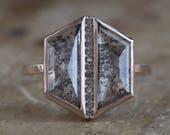 One of a Kind Salt + Pepper Hexagon Diamond Ring