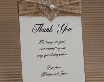 Rustic hessian lace heart thank you cards with C6 envelopes