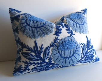 Schumacher Marguerite Pillow, Hand Embroidered with Bright Blue Wool, 12x16 Complete Pillow