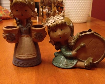 Two Cute Seventies Earthenware Little Ladies