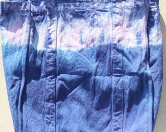 large blue and purple tie dye tote bag