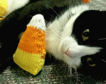 Knit Catnip-Filled Candy Corn Cat Toy - Cats Deserve a Treat, Too!!