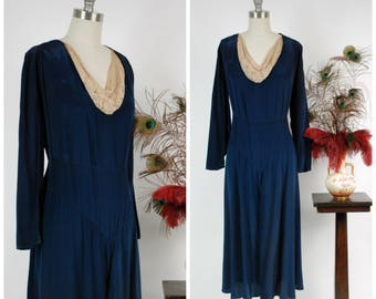 Vintage 1920s Dress - Fabulous c. 1929-31 Deep Navy Silk  Dress with Draped Lace Collar