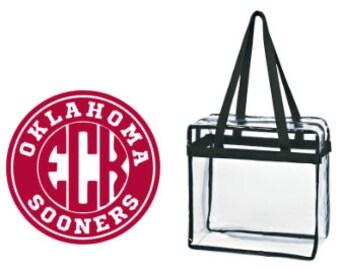 Oklahoma Sooners OK Custom Monogram/ Personalized Game Day Clear Tote Bag with Zipper Closure