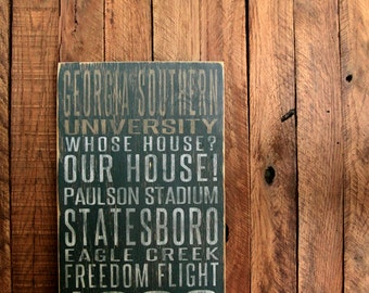 Georgia Southern University Distressed Wood Sign-Great Father's Day Gift!