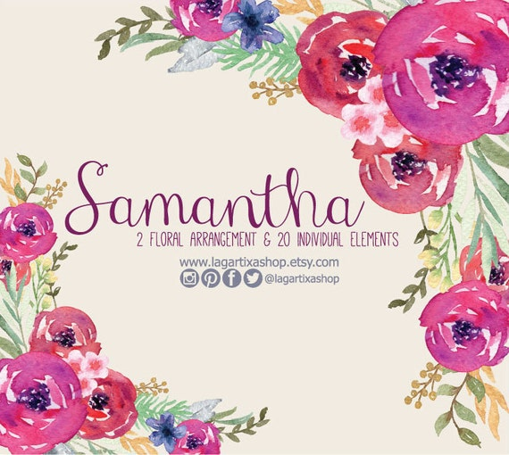 Watercolor Flowers Florals Flower Arrangements For Invitations Quotes Cards Wedding Design Hand Painted Roses Fuchsia Hot Pink