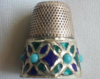 Gorgeous Vintage Thimble of Silver, Stones and Enamel