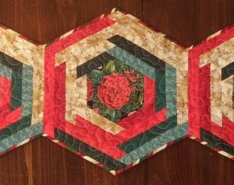 Quilted Holiday Log Cabin Hex Table Topper Quiltsy Handmade