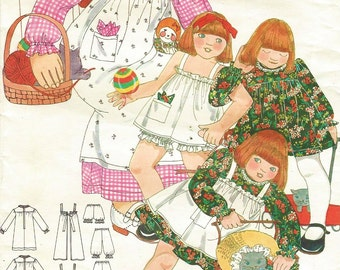 70s Betsey Johnson Girls Dress, Pinafore, Bloomers and Handkerchief Butterick Sewing Pattern 5279 Size 3 Breast 22 Vintage Girls Patterns