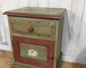 Bedside table, nightstand, side table, American folk art, country cottage (Annie Sloan Chalk Paint)
