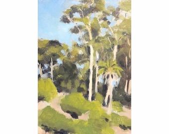 "Original Landscape Oil Painting / Plein air trees Painting / Small Painting 8x6""/ Eucalyptus & Palm tree / Sinatra, Portugal"