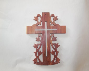 cross with flowers made of aromatic cedar