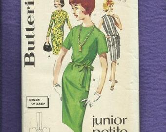 1960's Butterick 2609 Mid Century Shift Dress  Size 11 Junior