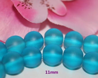 Lot 50 glass beads round blue frosted 11 mm - SC45000.