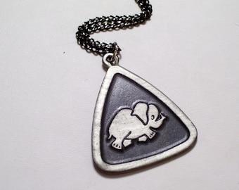 Pewter Elephant Pendant Necklace, Vintage Gutman Pewter Pendant, Pewter Pachyderm, Elephant Jewelry, Animal Jewelry