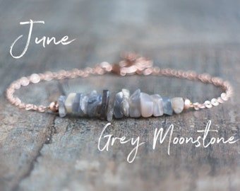 Grey Moonstone Bracelet, June Birthday Gifts for Her, Raw Crystal Bracelet, Raw Moonstone Jewelry, Boho Bracelet, June Birthstone Bracelet