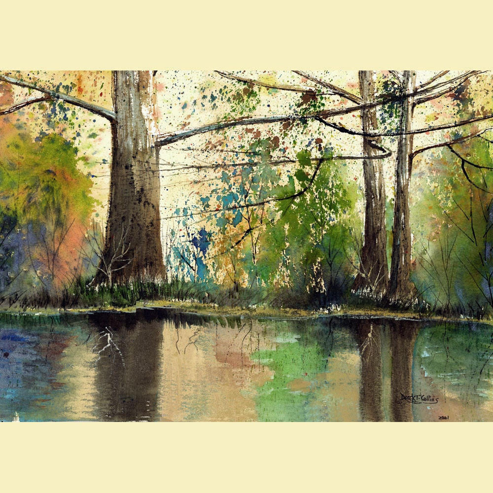 Landscape Painting watercolor sycamore Print River with trees