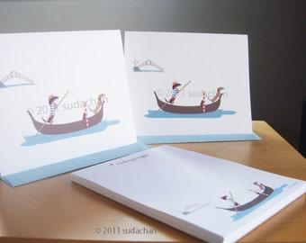 Dachshund Note Cards, Personalized Notepad Set - Dachshunds on Gondola (10 cards, 1 notepad)
