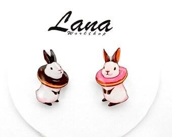 Bunny earrings bunnies donuts, bunnies earrings, bunnies jewelry, bunny jewelry, clay bunny, clay earrings, donuts earrings