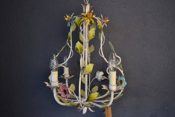 Beautiful colourful painted toleware chandelier with metal flowers