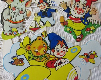 England Vintage Noddy Friends Toyland Lithographed Die Cut Paper Scraps Out Of Print  1331