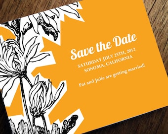 Printable Save the Date Card - Save the Date Template - Instant Download - Save the Date PDF - Black & Orange Floral Save the Date - Dahlia
