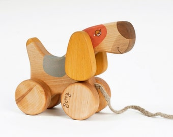 Personalized Pull Toy Dog, Heirloom Toys, Natural Wood Toys for 1 year old