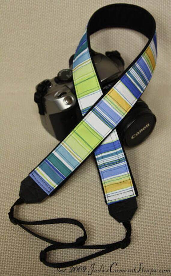 "Camera Strap Stripes Blue Yellow in 1.5"" Wide Custom Padded Fits DSLR SLR 2411"