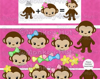 Monkey Girl Clip Art set v3 pink yellow green blue heads & body (personal use) INSTANT DOWNLOAD