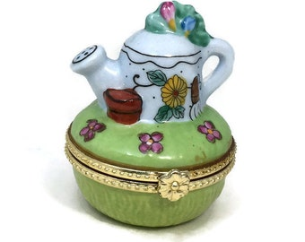 Vintage Limoges Trinket Box - French Porcelain, Lidded Vanity Jar, Watering Can, Mothers Day, Engagement Gift