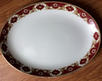 Vintage Maddock Ultra Vitrified Platter Maroon and Gold.  Vintage or Antique Gold and Maroon Oval Serving Platter. Made in England. VCH0064