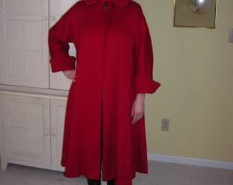 40's Lilli  Ann coat, swing coat, gorgeous lipstick red,cuff sleeves,stitched lined front and back,so 40's!