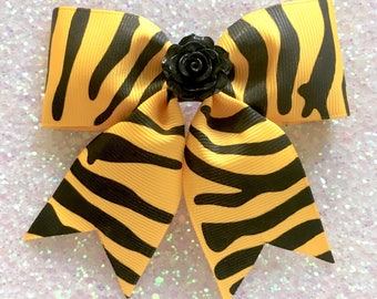 Little Rosie Zebra Hair Bow - Yellow - Psychobilly - Retro - Rockabilly - 50s