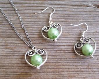Wedding Necklace Earrings Set, Silver Heart Jewelry, Light Green Pearl Beads, Wedding Jewelry, Silver Heart Pendant Necklace, Heart Earrings