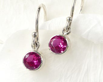 July Birthstone Earrings | Ruby | Sterling Silver | Handmade in the UK