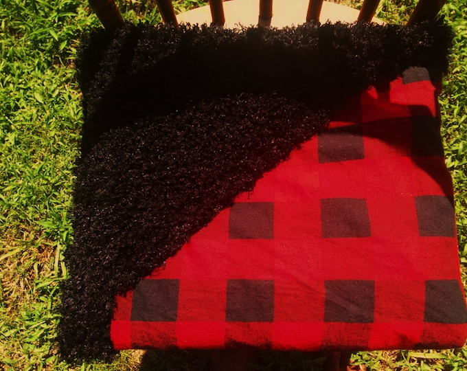 READY TO SHIP Red and Black Checkered buffalo plaid and black faux fur double sided Baby blanket