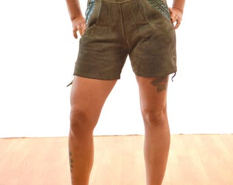 Vintage Leather Suede 1960s Era German Lederhosen Costume Shorts