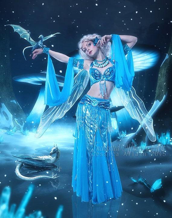 Fantasy Belly Dancer   Fantasy dragons art   Fantasy fairy art   Dragon art print   Winter fantasy art   blue artwork   fairy and dragon