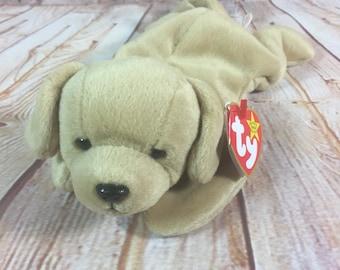 "Vintage 1998 TY Fetch the Labrador Dog Plush Stuffed Animal the Original Beanie Babies 8"""