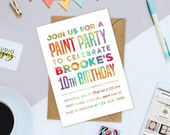 "Paint Theme Birthday Party Printable Invitation, Paint Party Printable 5"" x 7"" Birthday Invitation, Art Party Invitation"