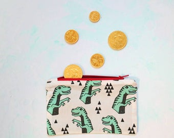 Dinosaur coin purse with red zip, lined and made from 100% cotton, T-Rexes purse, dino pouch