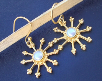 Handmade 925 Sterling Silver Gold Plated Pearl Dangle Drops Wedding Earrings