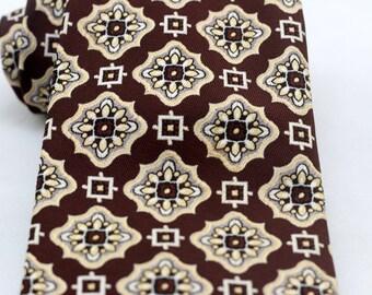Vintage Men's Brown Wide Tie/ Retro Fat Necktie
