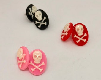 Red Pink Black Vintage Inspired Skull and Crossbones Jolly Roger Cameo Stud Earrings - Upcycled Earrings - Gift for Her - Cameo Jewelry
