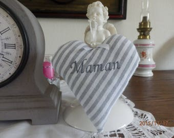 """heart """"MOM"""" in gray and white striped cotton"""