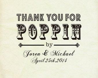 "Thanks for Popping By stamp - Popcorn Favor -Thanks for Popping In Bridal Shower Favor- Custom Rubber Stamp-Custom Stamp -3"" x 2.5"""