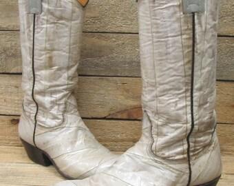 Vintage Mens Nocona Sz 7C Off White Beige EEL Cowboy Western Boots