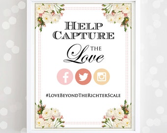 """Printable Instagram Poster Print - Wedding Photo Hashtag with EDITABLE text Sign Print  - INSTANT DOWNLOAD  Poster  """"Help capture the love"""""""