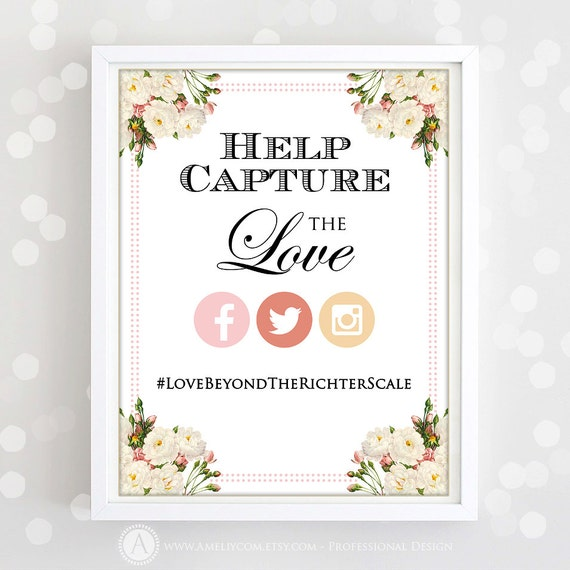 printable instagram poster print wedding photo hashtag with. Black Bedroom Furniture Sets. Home Design Ideas