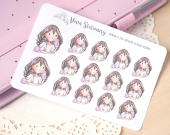 Kawaii Girl Coffee Take Away Decorative Stickers ~ Violet ~ For your Life Planner, Diary, Journal, Scrapbook...